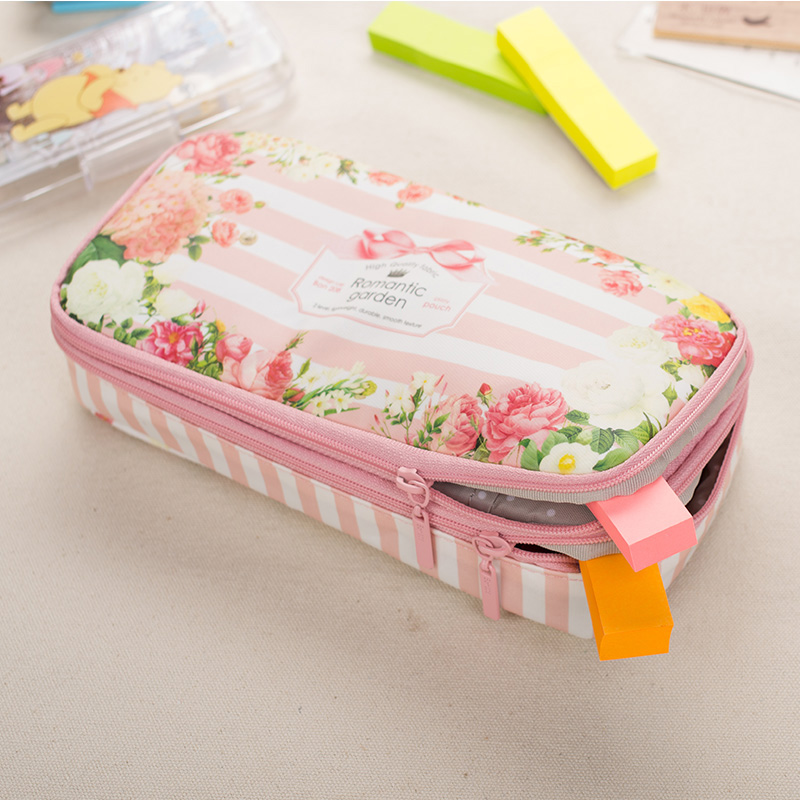 Korea Romantic Flower Pencil Bag Double Layers Multifunction Pencil Case For Girls Pencils Box Bts School Supplies Accessorie big capacity high quality canvas shark double layers pen pencil holder makeup case bag for school student with combination coded lock