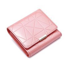 2016 New Fashion Women's Cowhide Patent Leather Card Holder Trifold Short Wallet Ladies Purse