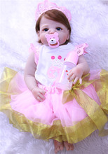 real Full Silicone Reborn Baby Girl Dolls Reborn Can enter into the water Bebe Reborn Babies Dolls for Children bonecas toys BJD hot 57cm full silicone body reborn babies dolls girls bath lifelike real vinyl bebe brinquedos reborn bonecas