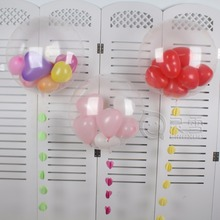 10pcs/lot 24inch transparent helium balloons 1 big round balloon+ 9pcs 2.2g heart latex balloons birthday party decoration