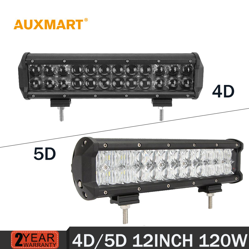 AUXMART 12 120w Led font b Light b font Bar straight 4D 5D Offroad combo beam