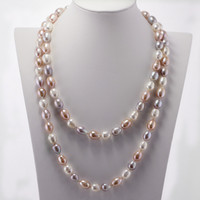 SNH A Mixed Color 100 Real Genuine Cultured 11 12mm Natural Freshwater Rice Pure Pearl Necklace