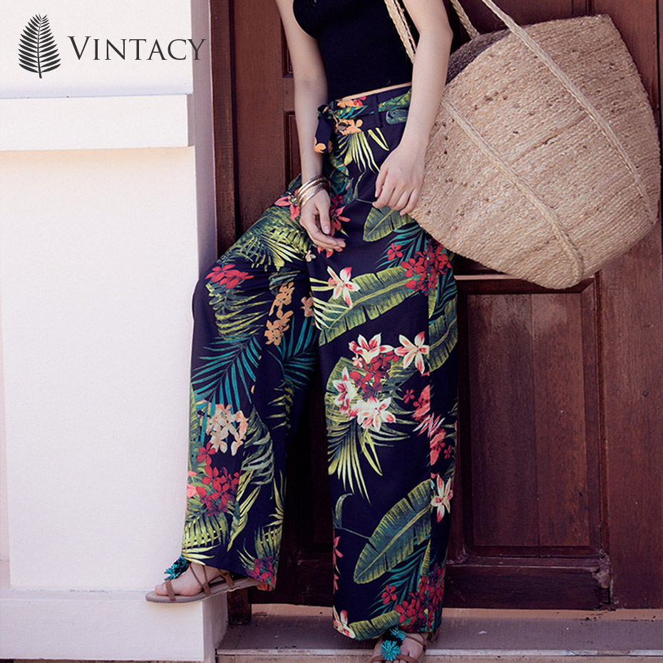 Vintacy Dark Blue 2XL Vacation Thailand Trousers Large Yard Bohemia   Wide     Leg     Pants   Beach Trousers Travel Women   Pants