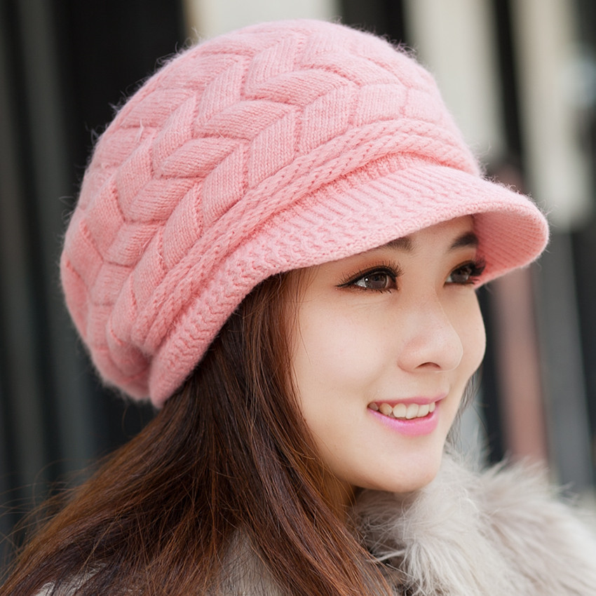 New Fashon Korean Ladies Women girls Hats Knitting knitted Hat female Lovely Wool women's Winter Warm Sun Cap wuhaobo the new arrival of the cashmere knitting wool ladies hat winter warm fashion cap silver flower diamond women caps