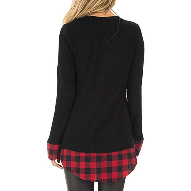 Women Christmas Plaided Top