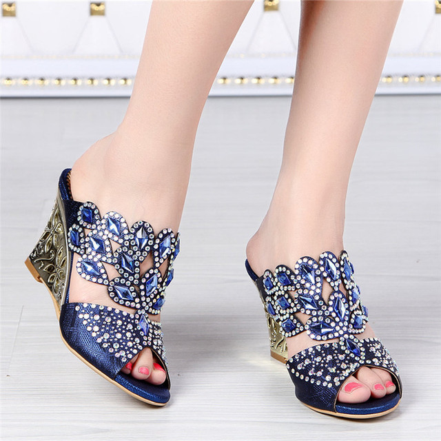 2017 New European Summer Diamond Leather High Heel Shoes Wedges ...