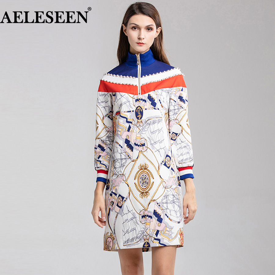 AELESEEN Contrast Color Print Straight Vintage Dress 18201120
