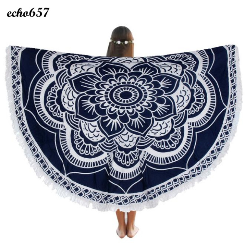 Hot Beach Towel Echo657 New Arrival Fashion Round Chiffon Print Beach Towel Blanket Table Cloth Beach Towels Jan 6