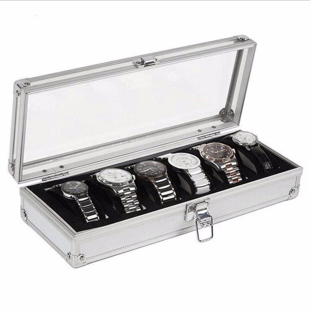 Contenitore Di Vigilanza 6 Griglia Inserto Slot Orologi Mostra Storage Box Cassa Dei Monili Di Alluminio Decorazione Dei Monili Avvolgitore Morbido E Antislipore