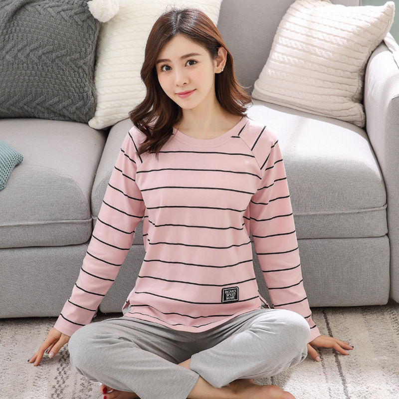 2019 Women Pajamas Sets Autumn Winter New Women Pyjamas Cotton Clothing Long Tops Set Female Pyjamas Sets NightSuit Mother Sleep 107
