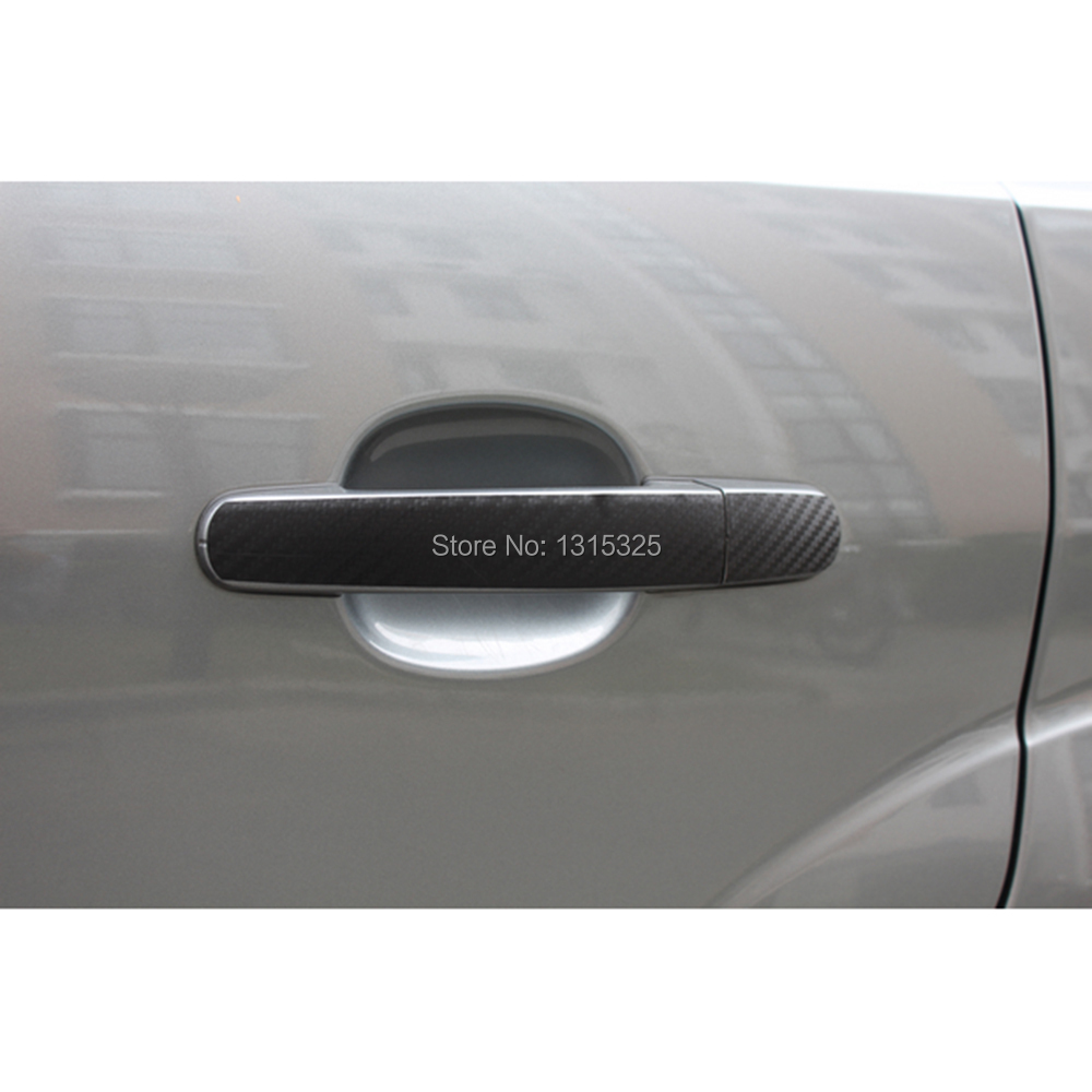 BEESCLOVER Aliauto 2 x Car-Styling Car Accessories Door Handle Decoration Carbon Fiber Protection Sticker Decal for Smart Fortwo Forfour Show Show