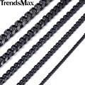 Trendsmax 3/5/7/9/11mm longitud del personalizar acero inoxidable collar negro cadena del encintado cubana niños mens joyería de moda knm09