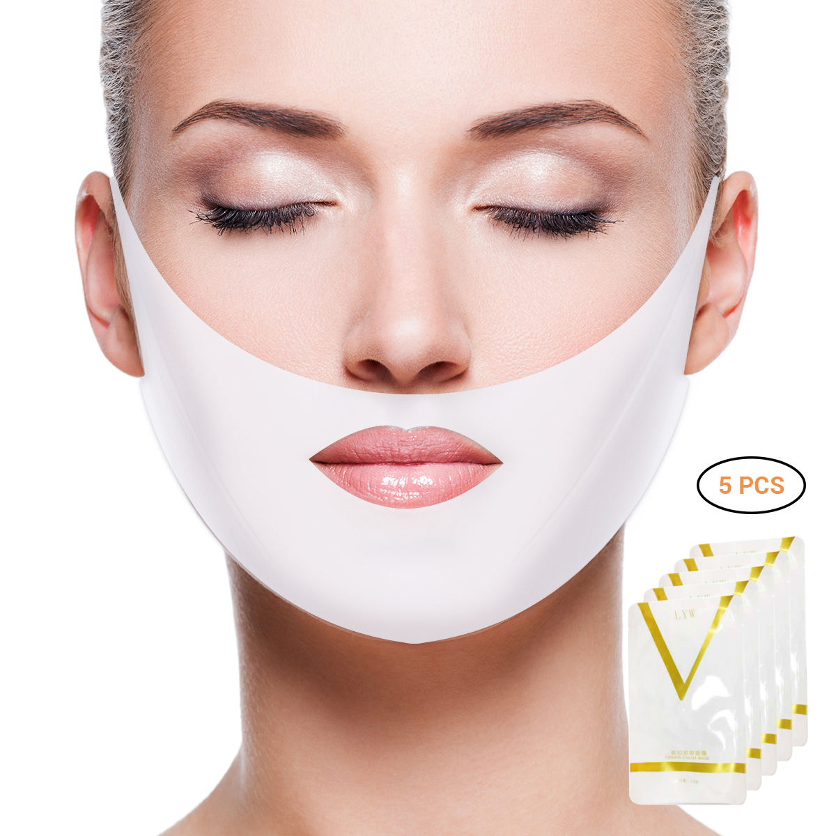 5pcs Double V Face Shape Tension Firming Face Mask Slimming Eliminate Edema Lifting Firming Thin Masseter Face Care Tool(China)