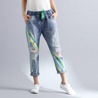 Summer New Boyfriend Jeans Harem Pants Women Trousers 2018 Preppy Loose Vintage Holes Ripped Rainbow Print Denim Pants