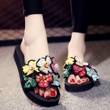 3CM/6CM Heel Height Women Wedges Shoes Summer Fashion Outdoor Bling Beach Slippers Slides