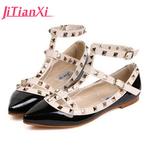JITIANXI Women Flats 2017 Fashion Genuine Spring Single Shoes Female  shallow mouth Shoes for Women with Lace-up Point Toe Flats