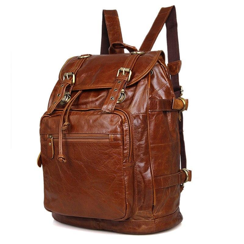 Nesitu Vintage Brown Unisex Men Women Vintage 100% Guarantee Real Genuine Leather Backpack Travel Bag #M6085B