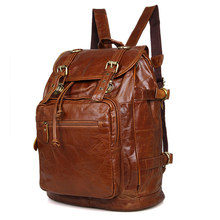 Nesitu Vintage Brown Unisex Men Women Vintage 100% Guarantee Real Genuine Leather Backpack Travel Bag #M6085B