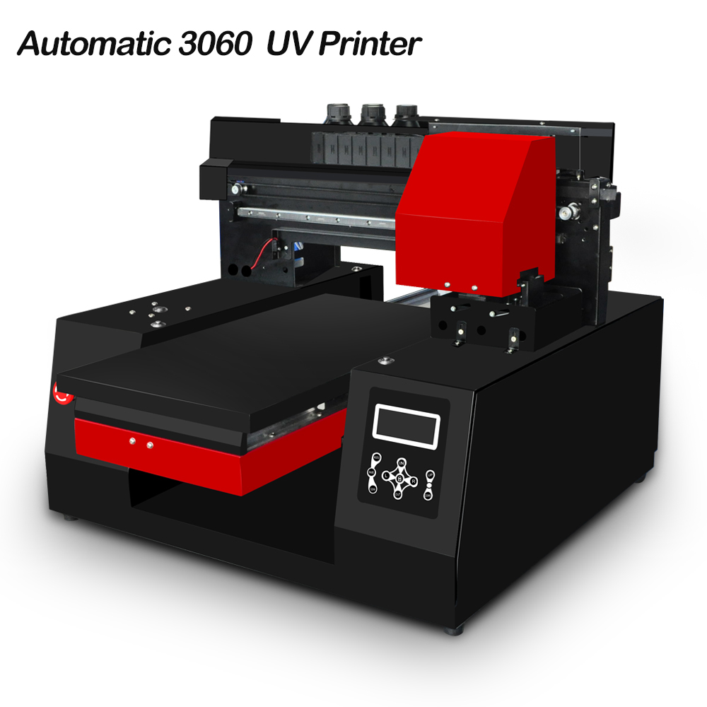 Newest Automatic A3 UV Printer 3060  Inkjet Printer LED UV Flatbed Printers For Bottle, Phone Case, T-shirt, Leather, TPU
