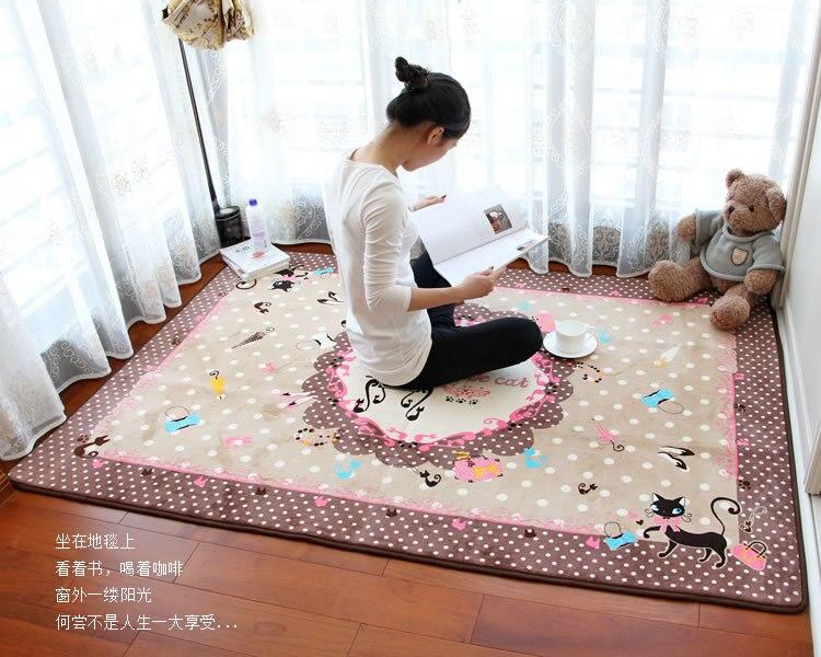 Leuke cartoon roze boog kat ontwerp tapijt woonkamer slaapkamer