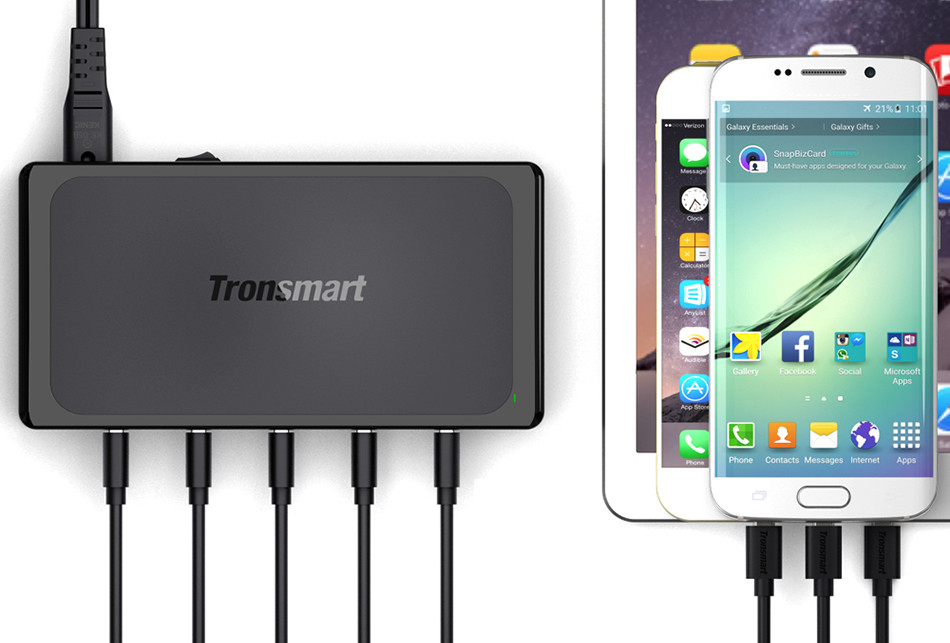 Tronsmart Titan UC5F 5 Ports Quick Charge 2.0 USB Smart Desktop Charger QC2.0 90W Turbo Charge Fast Charging[Qualcomm Certified] 15
