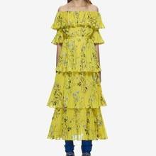 Women off shoulder floral printed heart painted ruffle yellow summer long dress