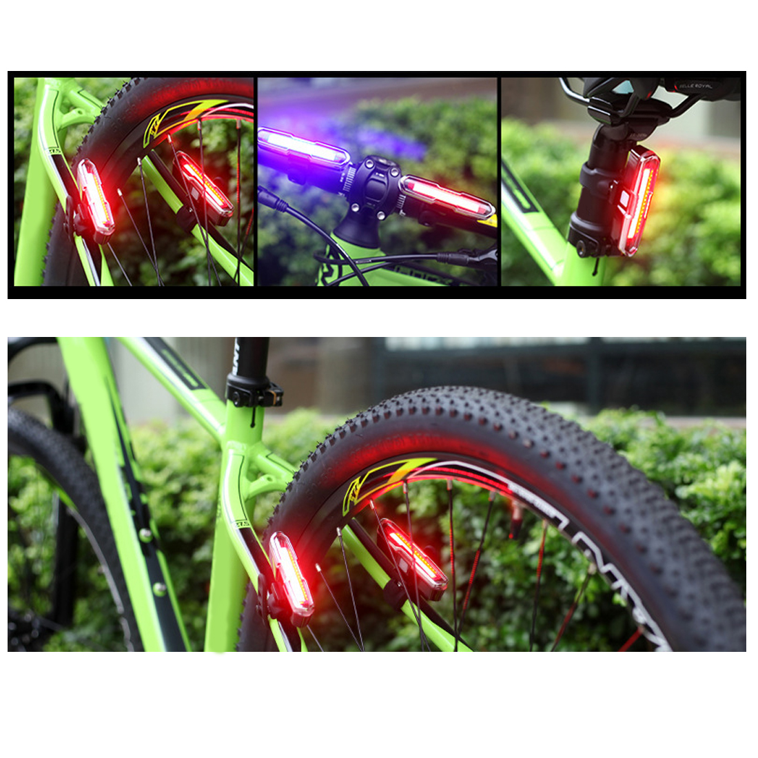 Tonewan new Dual Color Red/Blue/White USB Rechargeable Super Bright COB LED Bicycle Bike Cycling Rear Tail Light Lamp 6000lumens bike bicycle light cree xml t6 led flashlight torch mount holder warning rear flash light