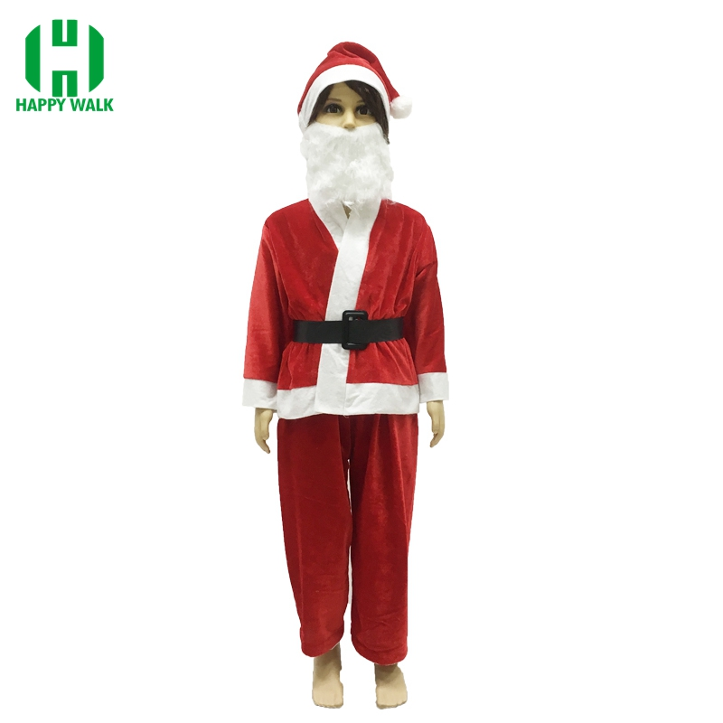 Children Christmas Santa Claus Costume Cosplay Santa Claus Clothes Fancy Dress In Christmas Boy 5pcs/lot Costume Suit For Kid