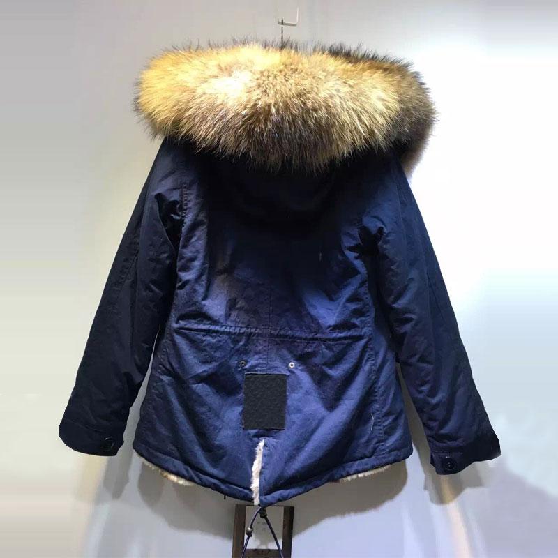 Grand Fourrure Faux Style Lapin Rex Raton Doublée Femmes Laveur Court Veste Bleu Gratuite Mme Fourrure De Livraison Marine Manteau Col D'hiver wpT1AIq