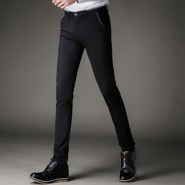7a20d94e98 Para hombre vestido negro Pantalones formal Pantalones slim fit boda hombres  negro Pantalones de traje negocios
