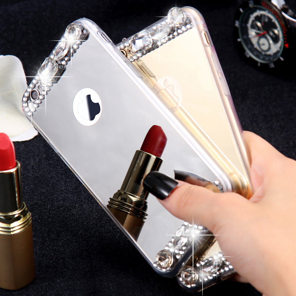 KISSCASE-Phone-Case-For-iPhone-5-5S-SE-6-X-10-Shells-Acrylic-Mirror-Jewelled-Soft(1)