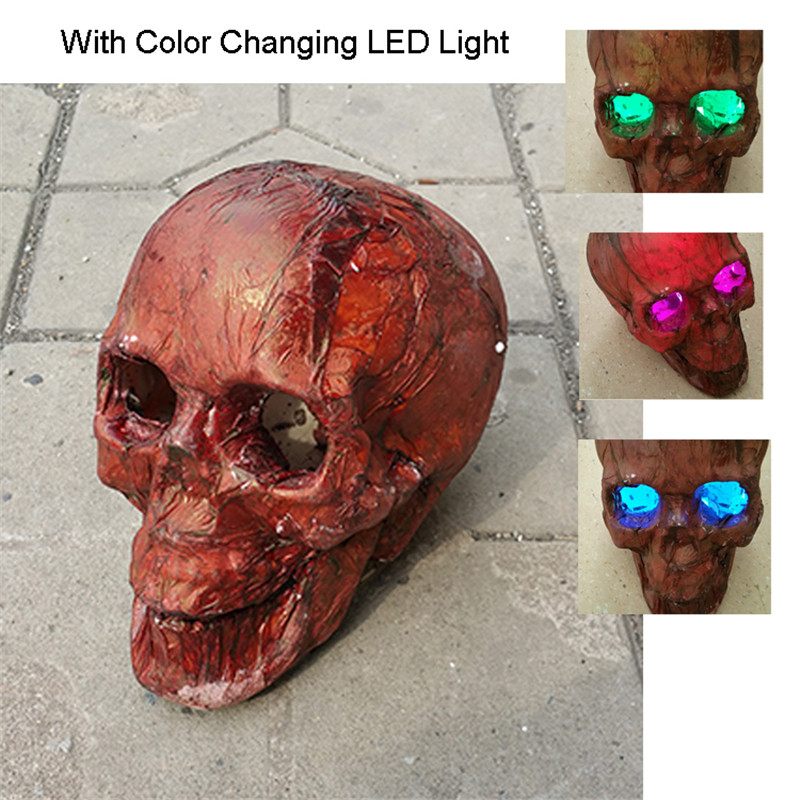 Halloween Skelett Verrottung Schädel W / LED Augen realistische - Partyartikel und Dekoration