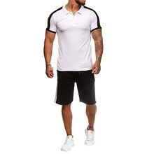 Men Sportswear Set Casual Summer Tracksuit Hip Hop Polo Shirts Beach Shorts High Street Fitness Suit Jogging set EU Size
