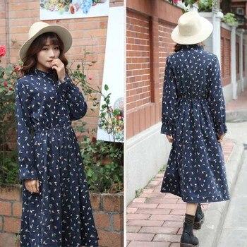Autumn Dress Women 2019 Corduroy Plus Size Long Sleeve Cotton Dresses Floral Cherry Shirt Tunic Winter Harajuku Mori Party Dress 2