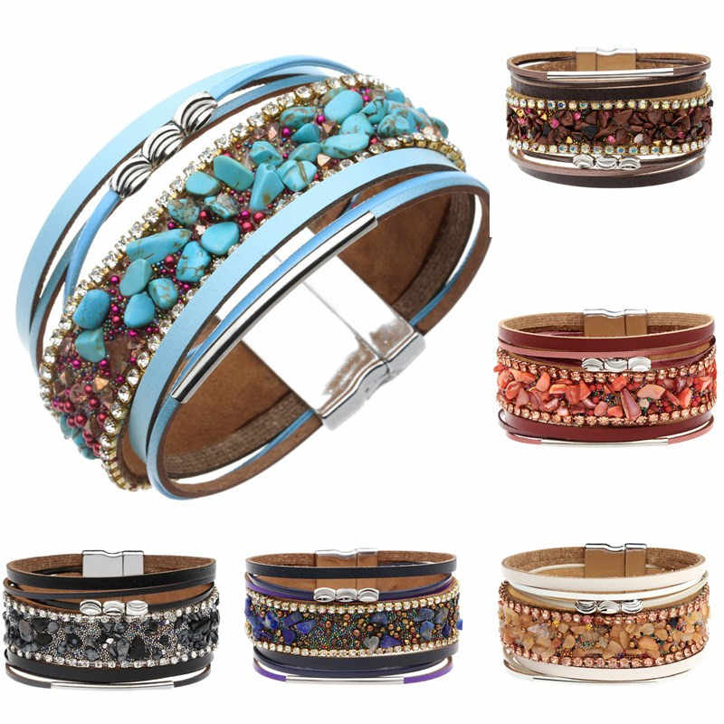ZOSHI Bohemian Leather Bracelets for Women Fashion Ladies Natural Stone Strips Multilayer Wide Wrap Bracelet Female Jewelry Gift