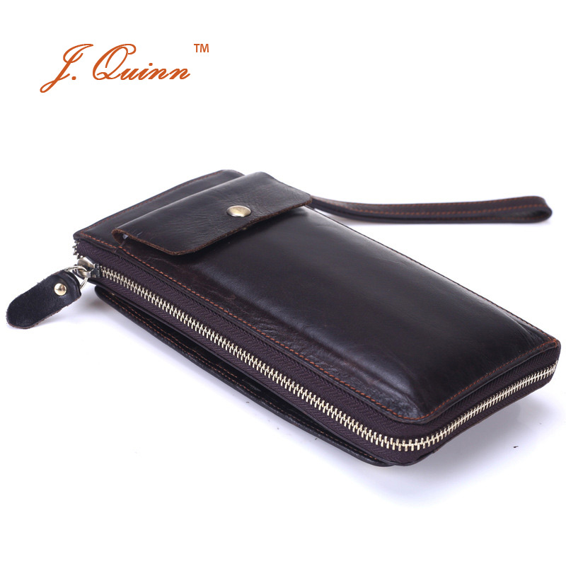ФОТО J.Quinn New Business Male Handbags Men Genuine Cowhide Leather Clutch Wallets Phone Holder Large Cards Bill Wallet Purse 2017