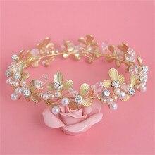 Barroco hojas de oro de la Tiara Peal corona nupcial de las flores diadema de princesa diadema joyería cristalina del pelo para accesorios de la boda