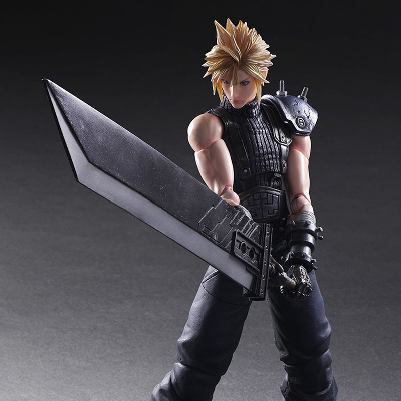 PLAY ARTS 27 cm Final Fantasy VII Cloud Strife Edition 2 PVC Action Figure Model Toys For Gift