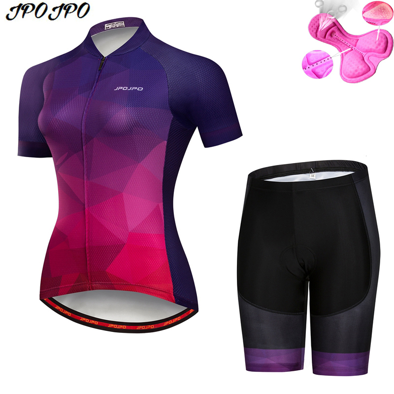 JPOJPO Womens Cycling Jersey Sets Summer MTB Bike Jersey Clothes Maillot Quick Dry Youth Bicycle Cycling Clothing Ropa Ciclismo