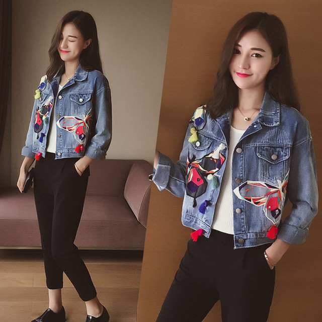 Aelegantmis Blue Embroidery Denim Jacket Woman Turn-down Collar Floral  Embroidered Short Casual Jean Jacket