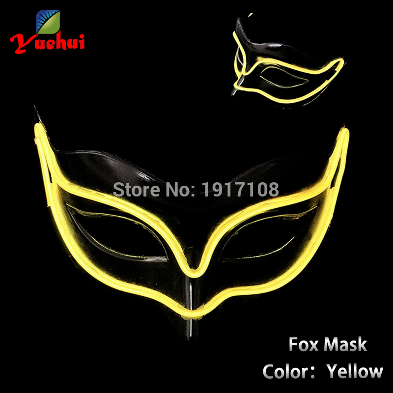 Hot Blinking EL wire Mask Halloween Sound activated Fox LED Mask Festival LED Glowing Party DJ dance Carnival Masks accessories