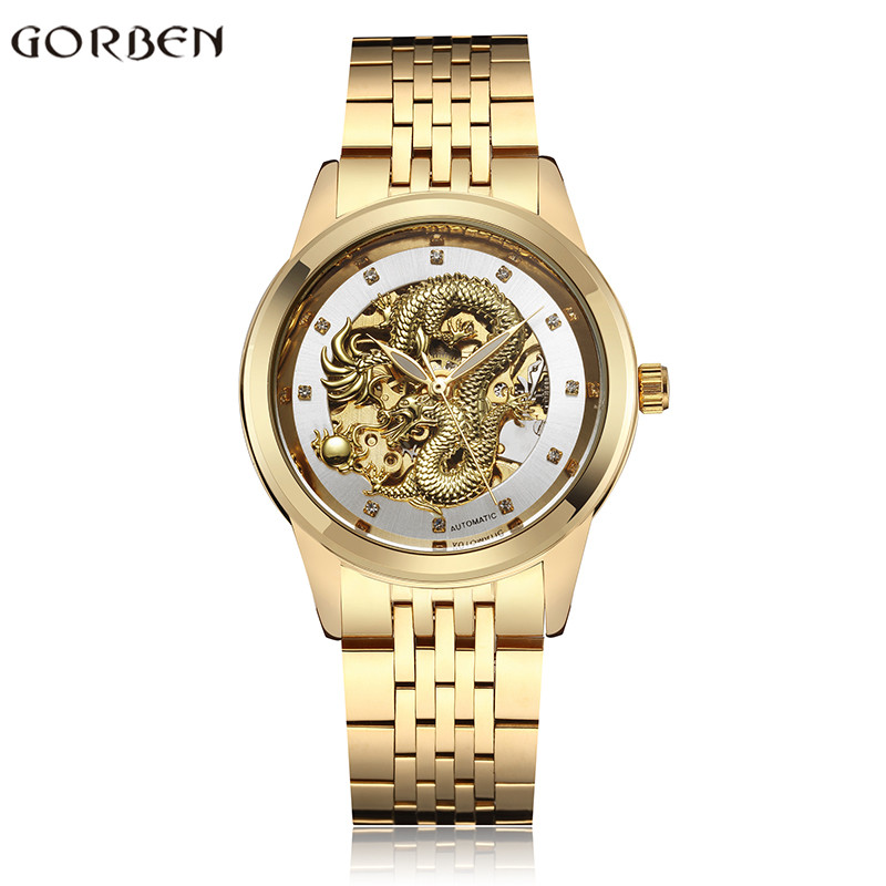 Hot Dropshipping Automatic Watch Men Luxury Gold Silver Steel Dragon Mechanical Mens Watch Luminous Slef-Wind relogio masculino tevise fashion auto date automatic self wind watches stainless steel luxury gold black watch men mechanical t629a with tool