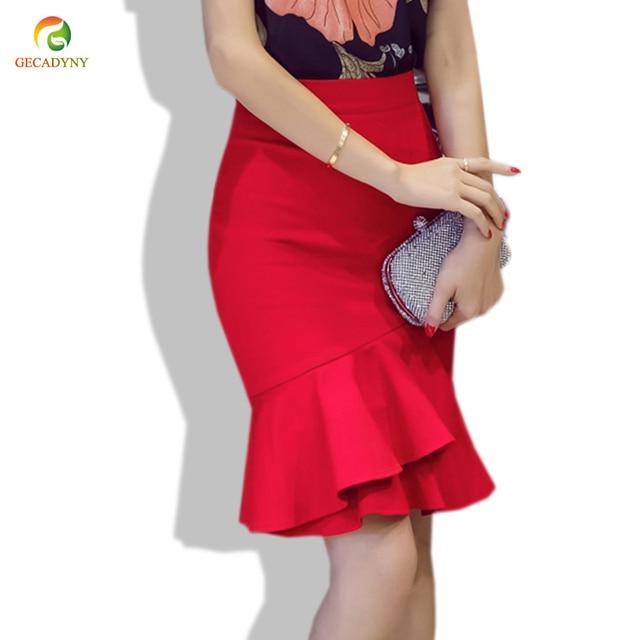 08d90910e € 11.49 6% de DESCUENTO Aliexpress.com: Comprar Falda de sirena a la altura  de la rodilla de las mujeres de moda faldas de tubo delgadas de cintura ...