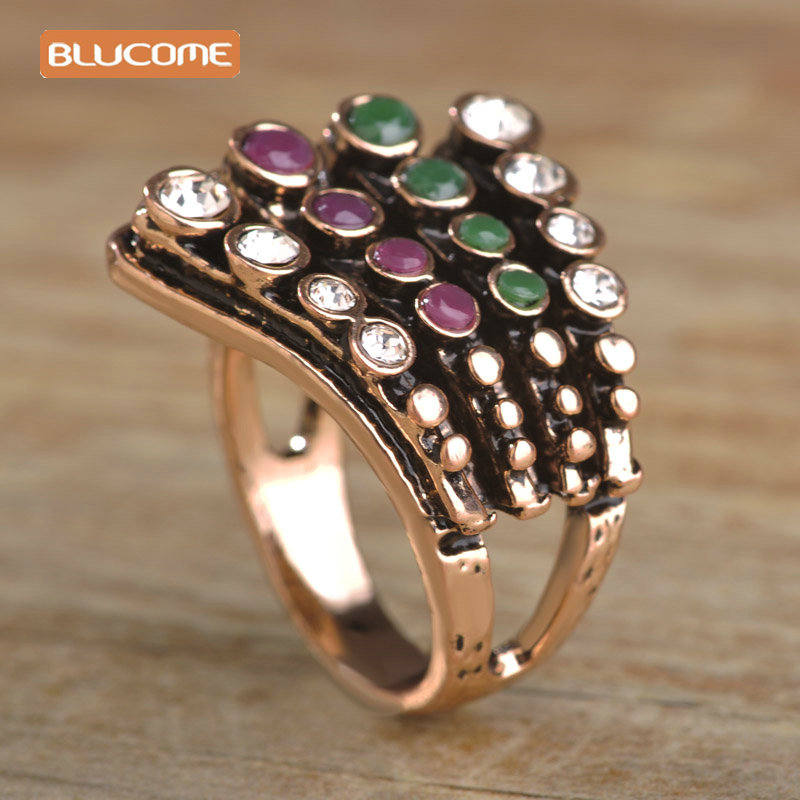 blucome four layer turkish rings for women colorful resin crystal wide ring vintage wedding finger jewelry - Steampunk Wedding Rings