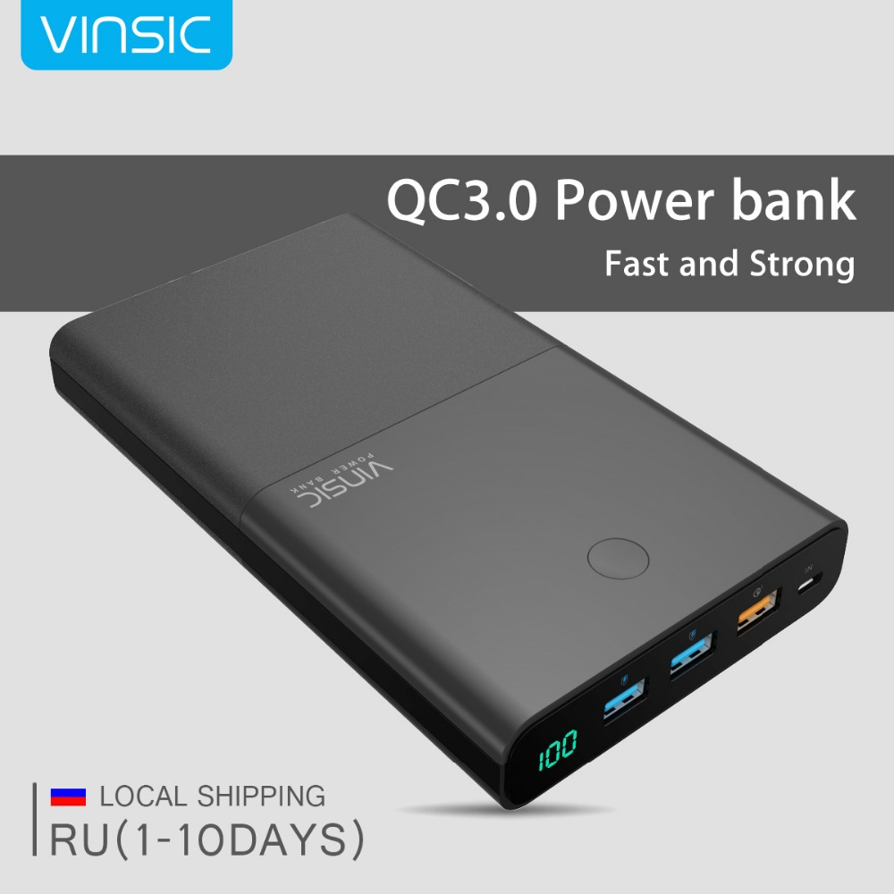 Vinsic 28000 mah Power Bank 18650 QC3.0 Dual USB Quick Charge 3,0 Externe Batterie Ladegerät für iPhone X 8 8 plus 7 Xiaomi Samsung