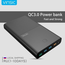 Vinsic 28000mAh Power Bank 18650 with QC3.0 +Dual USB Portable Quick Charge External Battery Charger for iPhone 7 Xiaomi Samsung