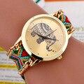 Новый 2016 Мода повседневная DIY Слон Pattern Женщины Платье Часы Национальный Weave Золотой Браслет montre femme Кварцевые Наручные Часы