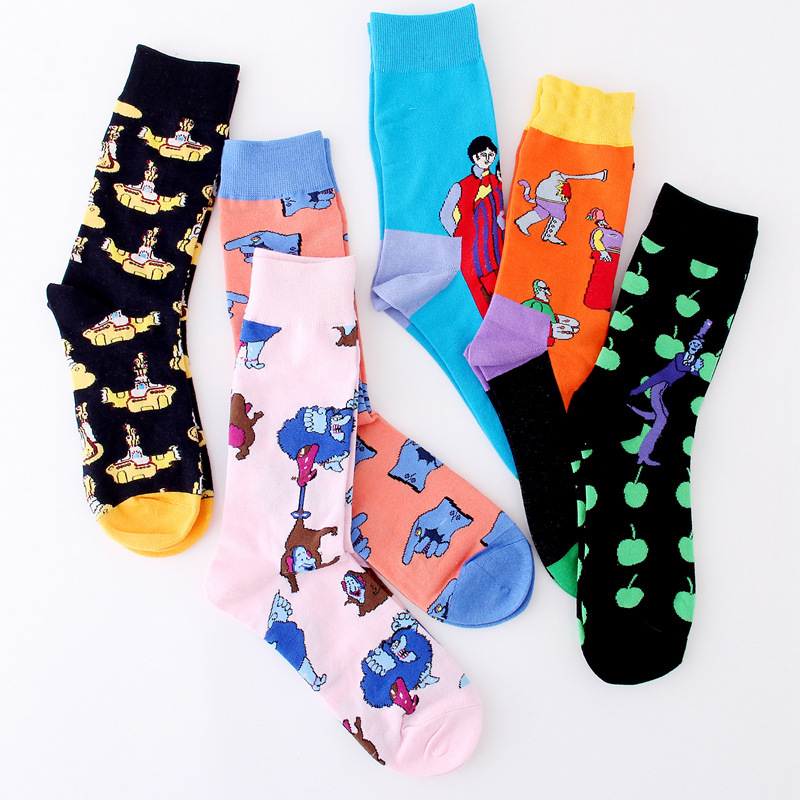 PEONFLY Colorful Men's Funny Combed Cotton Crew Dress Wedding   Socks   Causal Skateboard   Socks   Novelty Happy   Socks   US 7-11