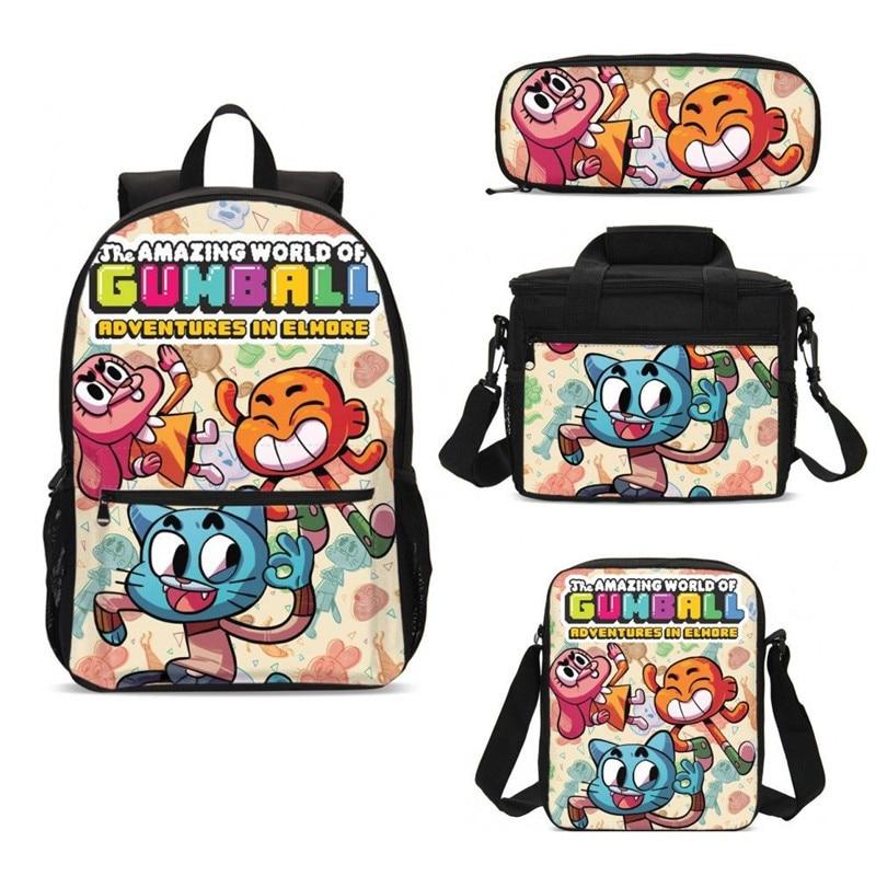 4 pièces/ensemble portefeuille cartable pour garçons filles Cool incroyable monde de Gumball 3D impression sacs décontracté dos casual Daypacks Mochila Escolar