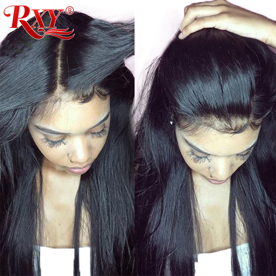 RXY Straight Lace Front Wig Glueless Lace Front Menneskehår Parykker For Sorte Kvinder 12x3 Brazilian Lace Parykker Med Baby Hair Non Remy